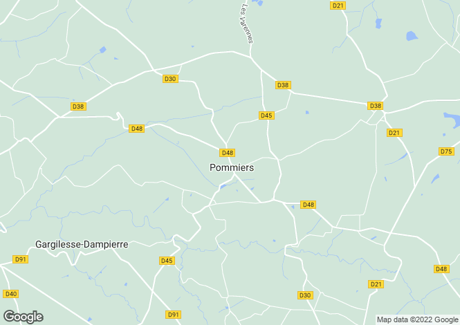 Map for pommiers, Indre, France