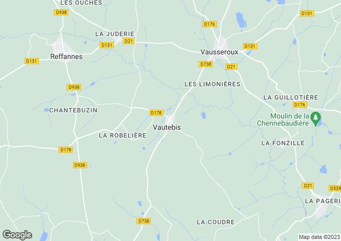 Map for vautebis, Deux-Sèvres, France
