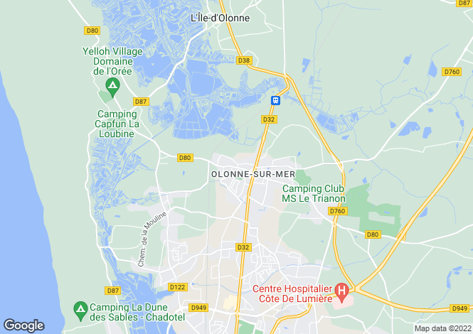 Map for olonne-sur-mer, Vendée, France