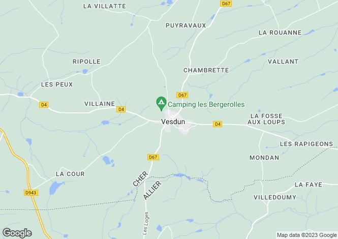 Map for vesdun, Cher, France