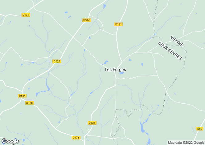 Map for Poitou-Charentes, Deux-Sèvres, Les Forges