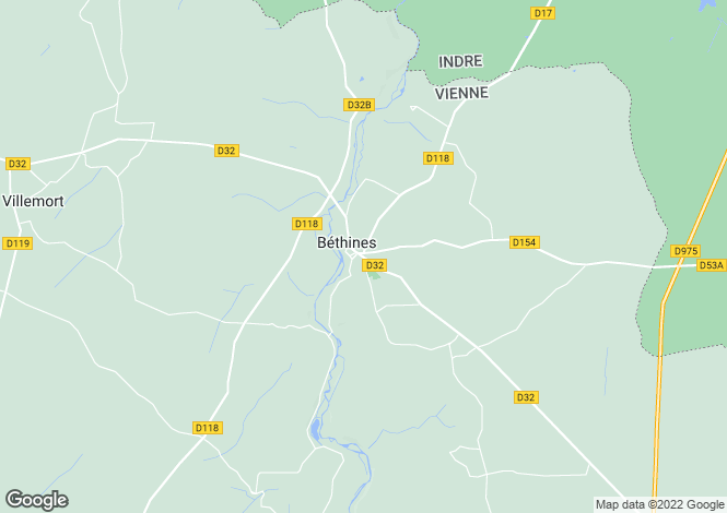 Map for bethines, Vienne, France