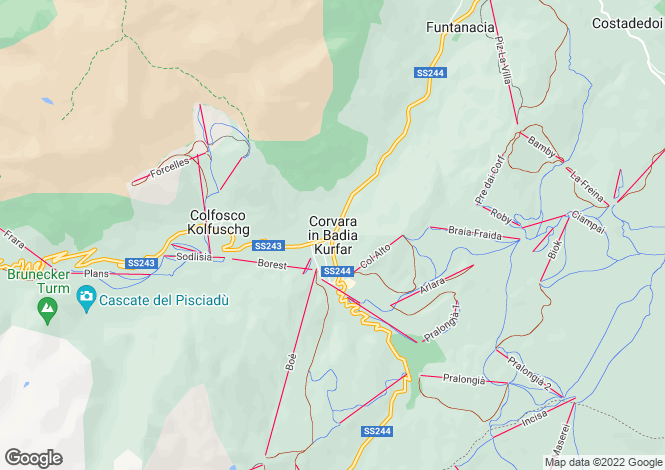 Map for Corvara in Badia