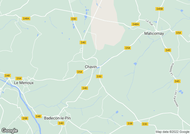 Map for chavin, Indre, France