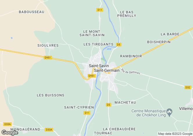 Map for Secteur: Saint-Savin, Vienne