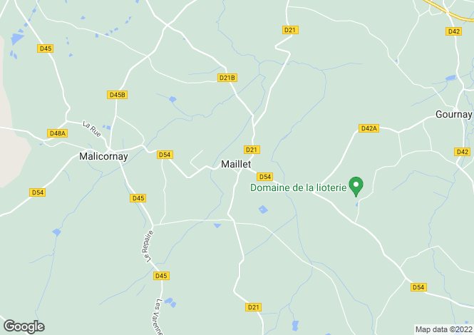 Map for Centre, Indre, Maillet