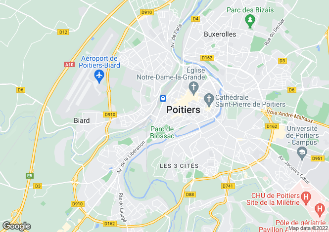 Map for Poitou-Charentes, Vienne, Poitiers