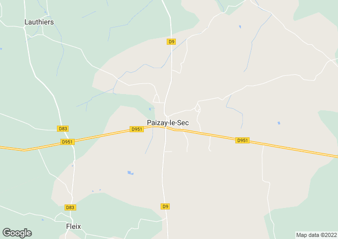 Map for Poitou-Charentes, Vienne, Paizay-le-Sec