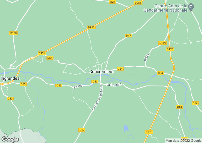 Map for Centre, Indre, Concremiers