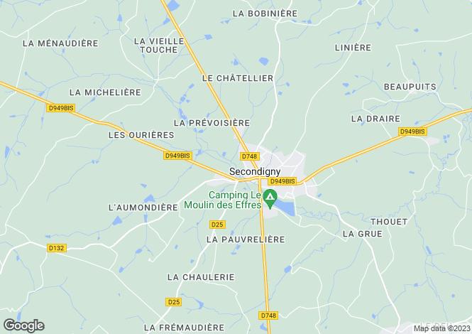 Map for secondigny, Deux-Sèvres, France