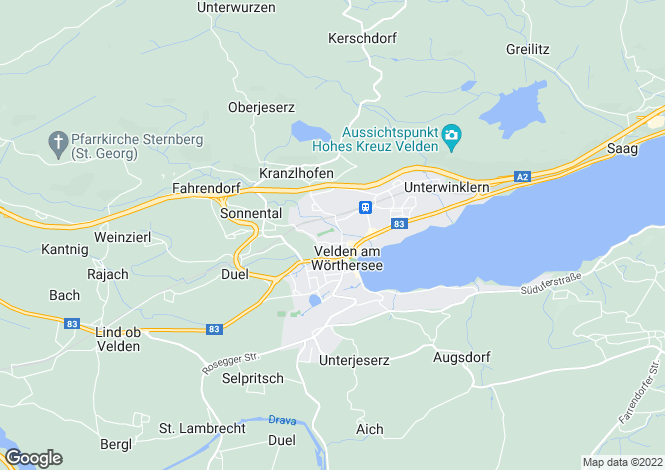 Map for Velden am Wörther See, Villach-Land, Carinthia
