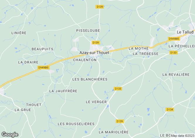 Map for azay-sur-thouet, Deux-Sèvres, France