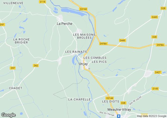 Map for Auvergne, Allier, Urçay