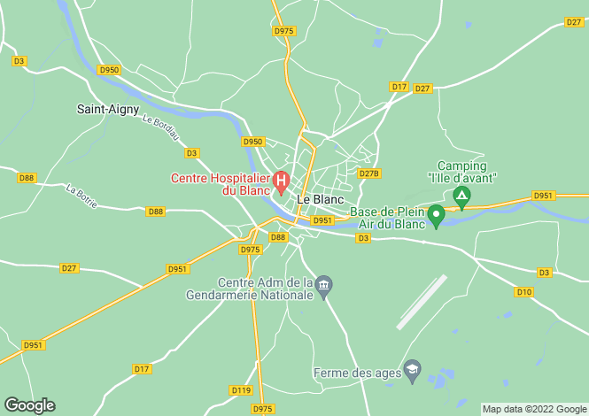 Map for Centre, Indre, Le Blanc