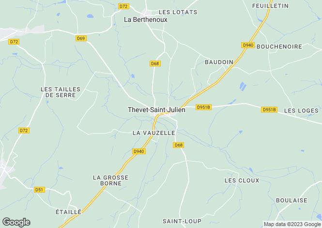 Map for thevet-st-julien, Indre, France