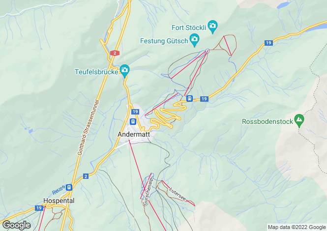 Map for Andermatt, Uri