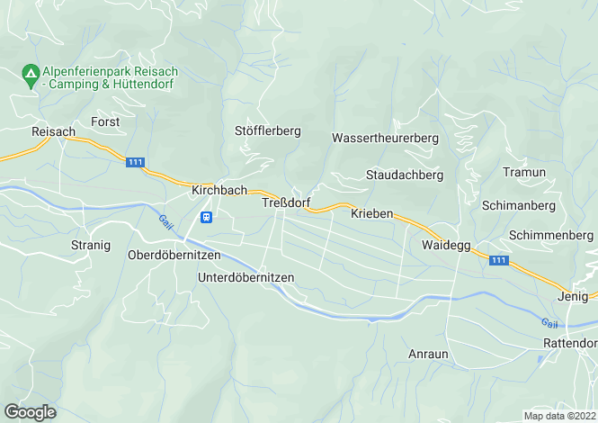 Map for Kirchbach, Hermagor, Carinthia