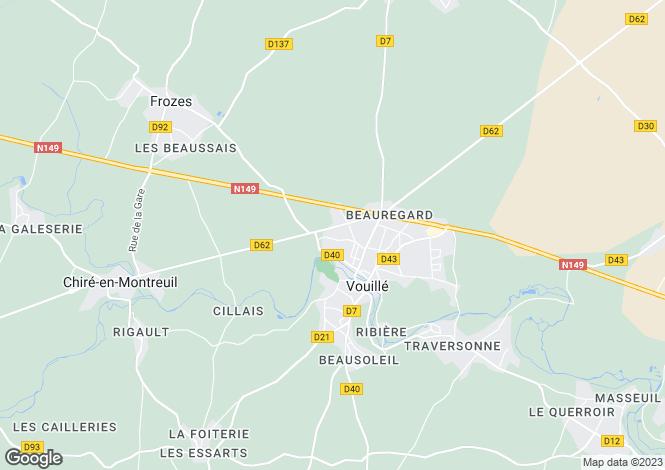 Map for Poitou-Charentes, Vienne, Vouillé