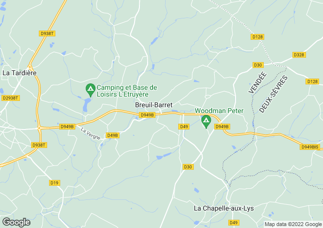 Map for breuil-barret, Vendée, France