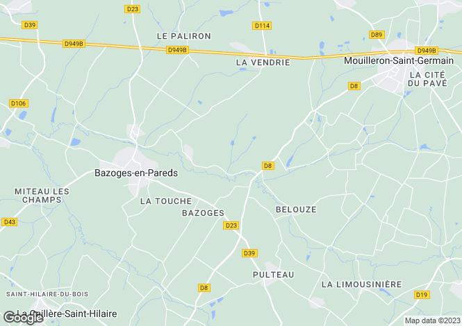Map for Bazoges-en-Pareds, Vendée, Pays de la Loire