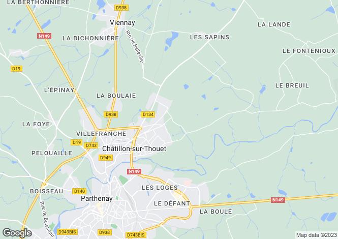 Map for chatillon-sur-thouet, Deux-Sèvres, France
