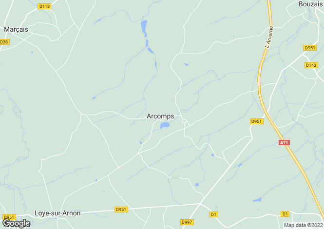 Map for arcomps, Cher, France