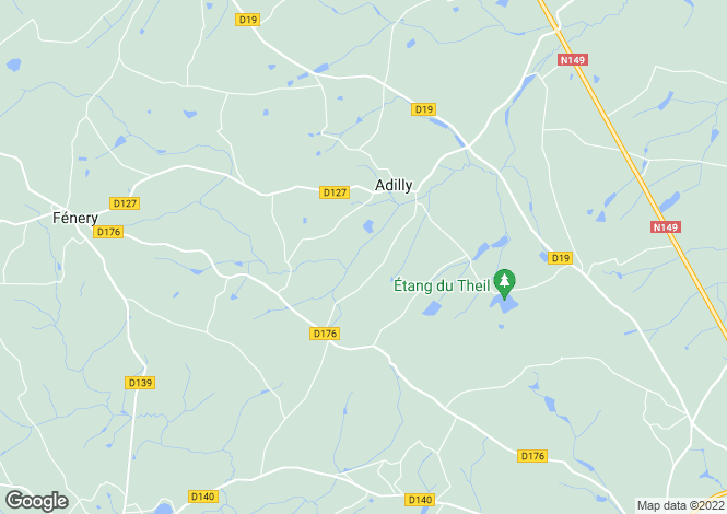 Map for adilly, Deux-Sèvres, France
