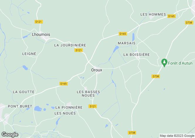 Map for Oroux, Deux-Sèvres, Poitou-Charentes