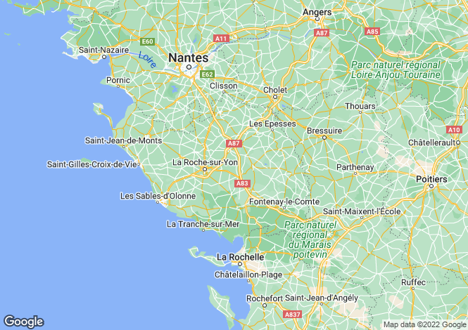 Map for Pays de la Loire, Vendée