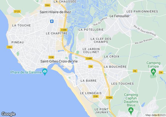 Map for St-Gilles-Croix-de-Vie, Vendée, Pays de la Loire