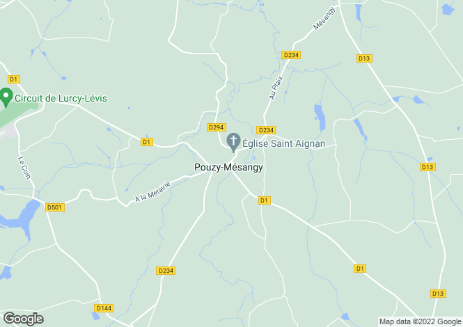 Map for pouzy-mesangy, Allier, France