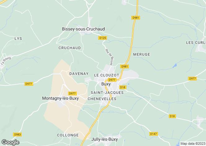 Map for Burgundy, Saône-et-Loire, Buxy