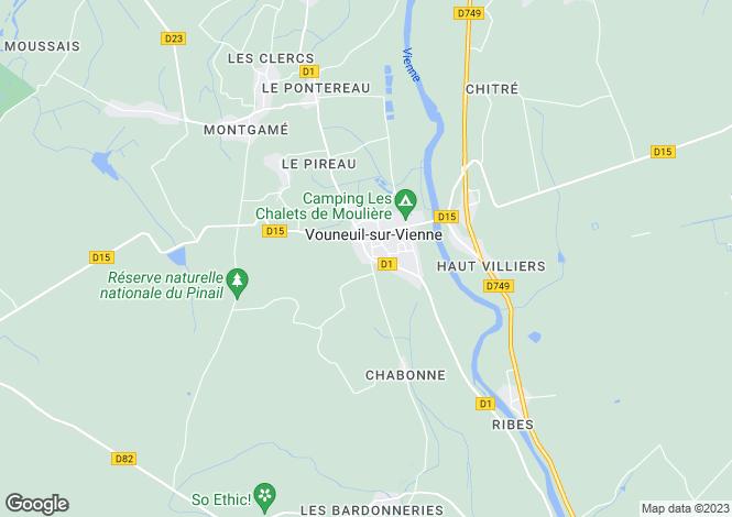 Map for Vouneuil-sur-Vienne, Vienne, Poitou-Charentes