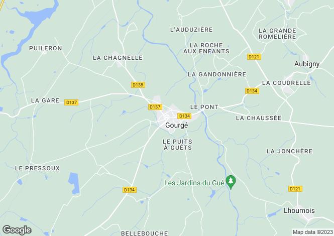 Map for gourge, Deux-Sèvres, France