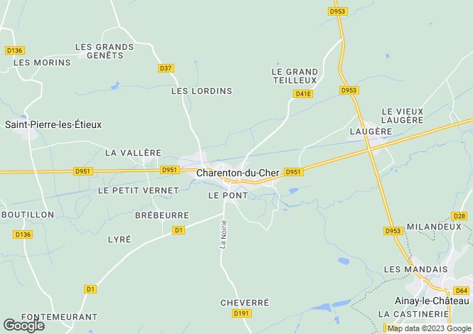 Map for charenton-du-cher, Cher, France