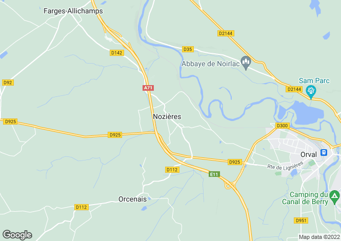 Map for nozieres, Cher, France