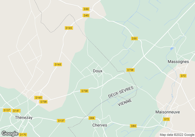 Map for doux, Deux-Sèvres, France