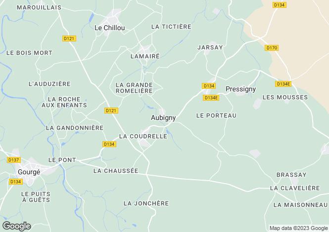 Map for aubigny, Deux-Sèvres, France