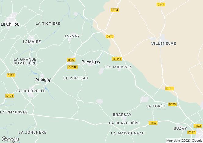 Map for pressigny, Deux-Sèvres, France