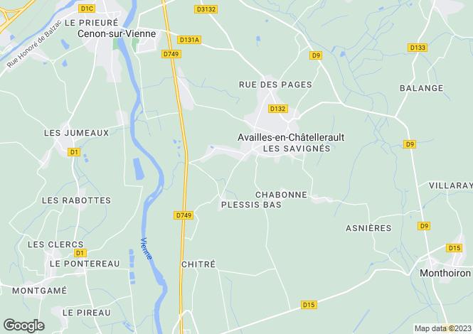 Map for Poitou-Charentes, Vienne, Availles-en-Châtellerault