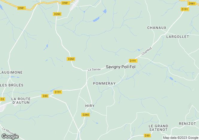 Map for Savigny-Poil-Fol, Bourgogne, 58170, France