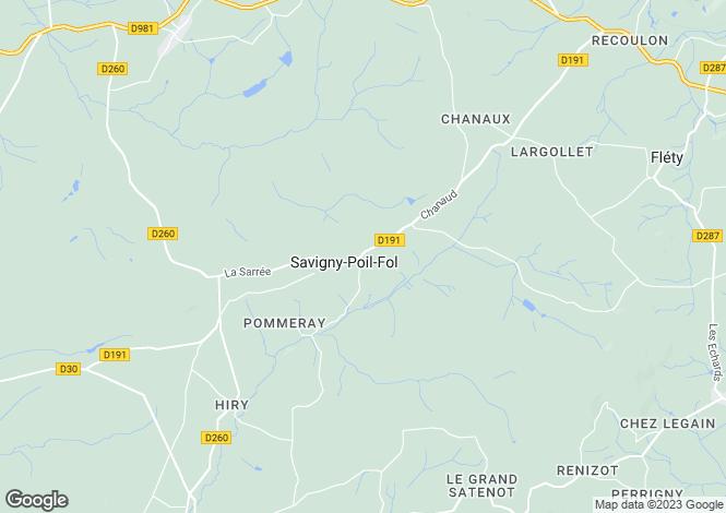 Map for Savigny Poil Fol, Bourgogne, 58170, France