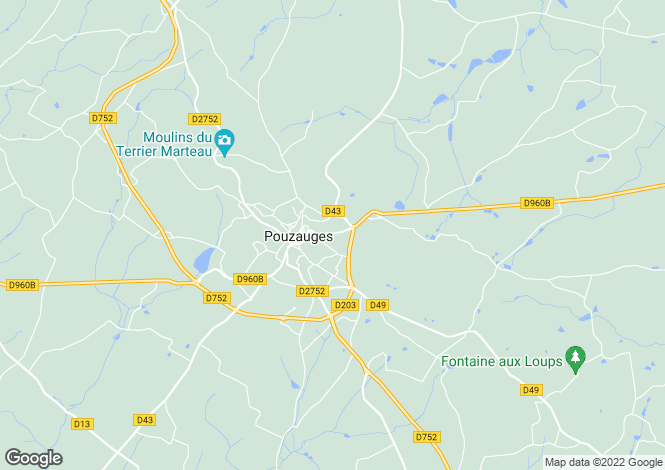 Map for Pouzauges, Vendée, Pays de la Loire