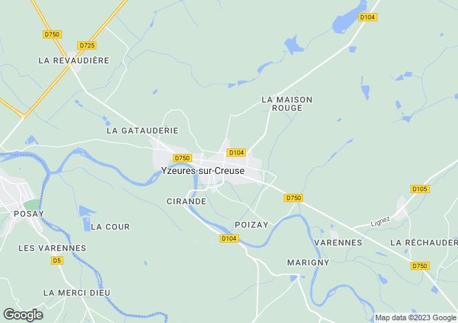 Map for yzeures-sur-creuse, Indre-et-Loire, France