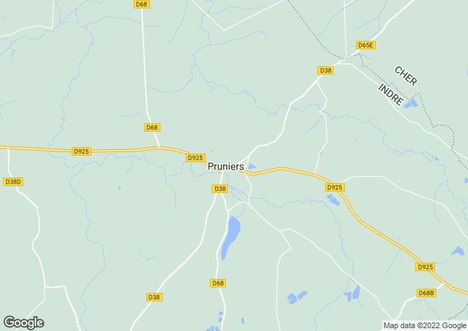 Map for Centre, Indre, Pruniers