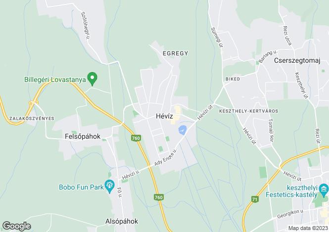 Map for Zala, Hévíz, Hungary