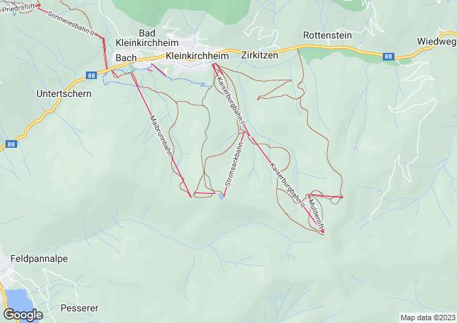 Map for Kärnten, Spittal an der Drau, Bad Kleinkirchheim, Austria