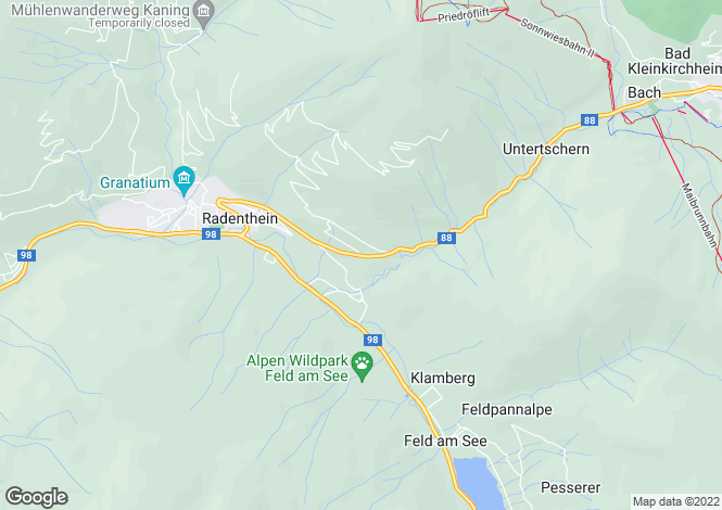 Map for Kärnten, Spittal an der Drau, Radenthein, Austria
