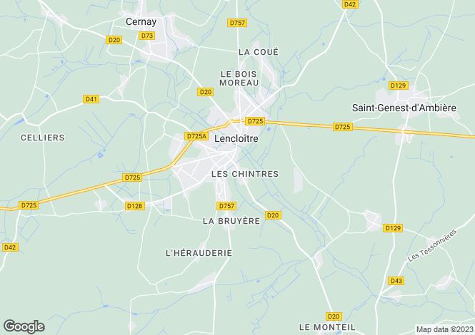 Map for Lencloître, Vienne, Poitou-Charentes