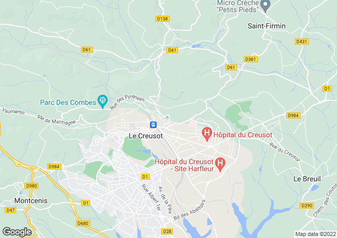 Map for Le Creusot, Bourgogne, 71200, France